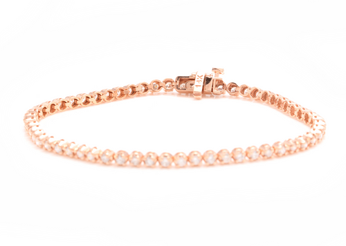 3.00 Carats Natural Diamond 14k Solid Rose Gold Bracelet