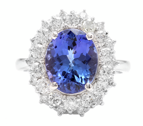 5.70 Carats Natural Tanzanite and Diamond 14k Solid White Gold Ring
