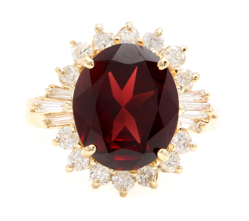9.60 Carats Natural Red Garnet and Diamond 14k Solid Yellow Gold Ring
