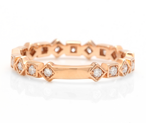 0.40Ct Natural Diamond 14K Solid Rose Gold Band Ring