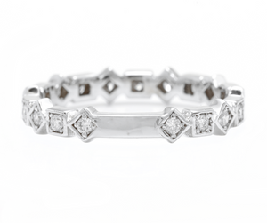 0.40Ct Natural Diamond 14K Solid White Gold Band Ring