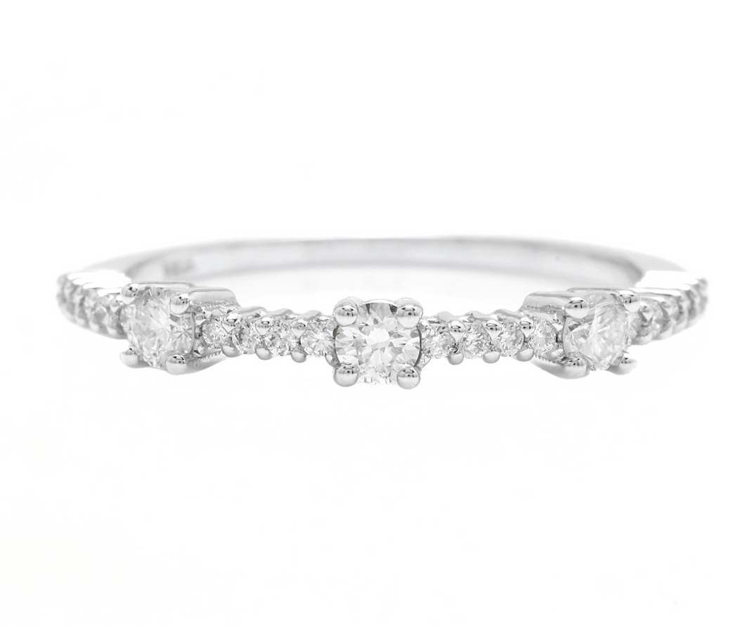 0.45Ct Natural Diamond 14K Solid White Gold Band Ring
