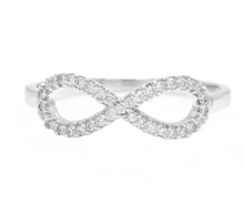Load image into Gallery viewer, 0.20Ct Natural Diamond 14K Solid White Gold Infinity Band Ring