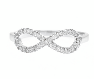 0.20Ct Natural Diamond 14K Solid White Gold Infinity Band Ring