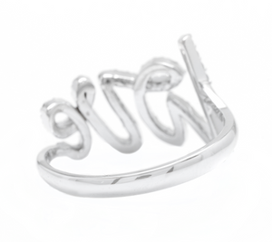 0.45Ct Natural Diamond 14K Solid White Gold Band LOVE Ring