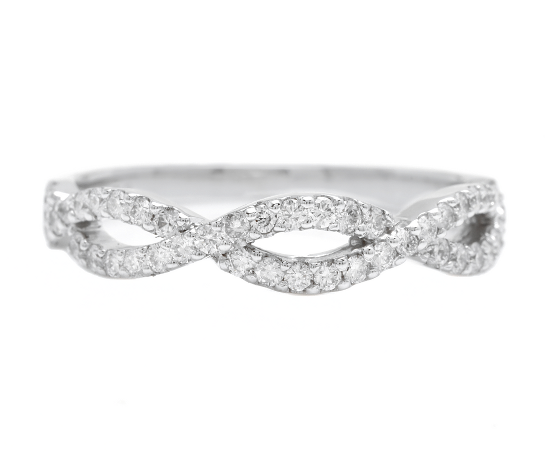 0.50Ct Natural Diamond 14K Solid White Gold Band Ring