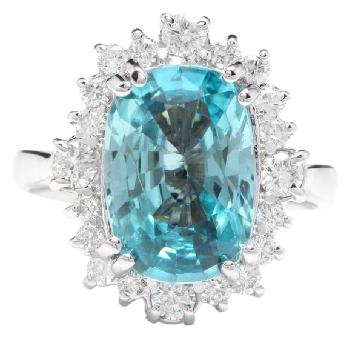 6.75 Carats Natural Very Nice Looking Zircon and Diamond 14K Solid White Gold Ring