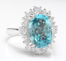 Load image into Gallery viewer, 6.75 Carats Natural Very Nice Looking Zircon and Diamond 14K Solid White Gold Ring