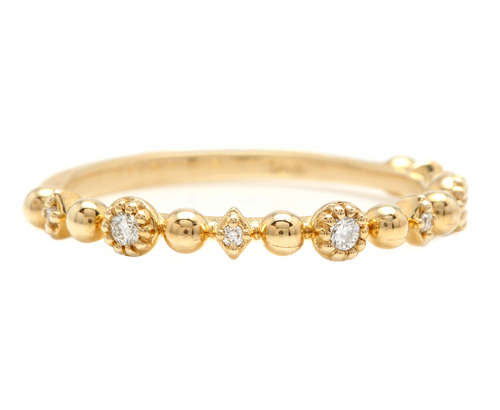 0.12Ct Natural Diamond 14K Solid Yellow Gold Band Ring