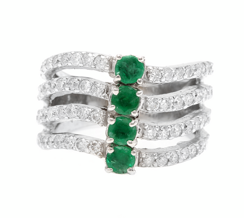 2.30Ct Natural Emerald & Diamond 14K Solid White Gold Ring