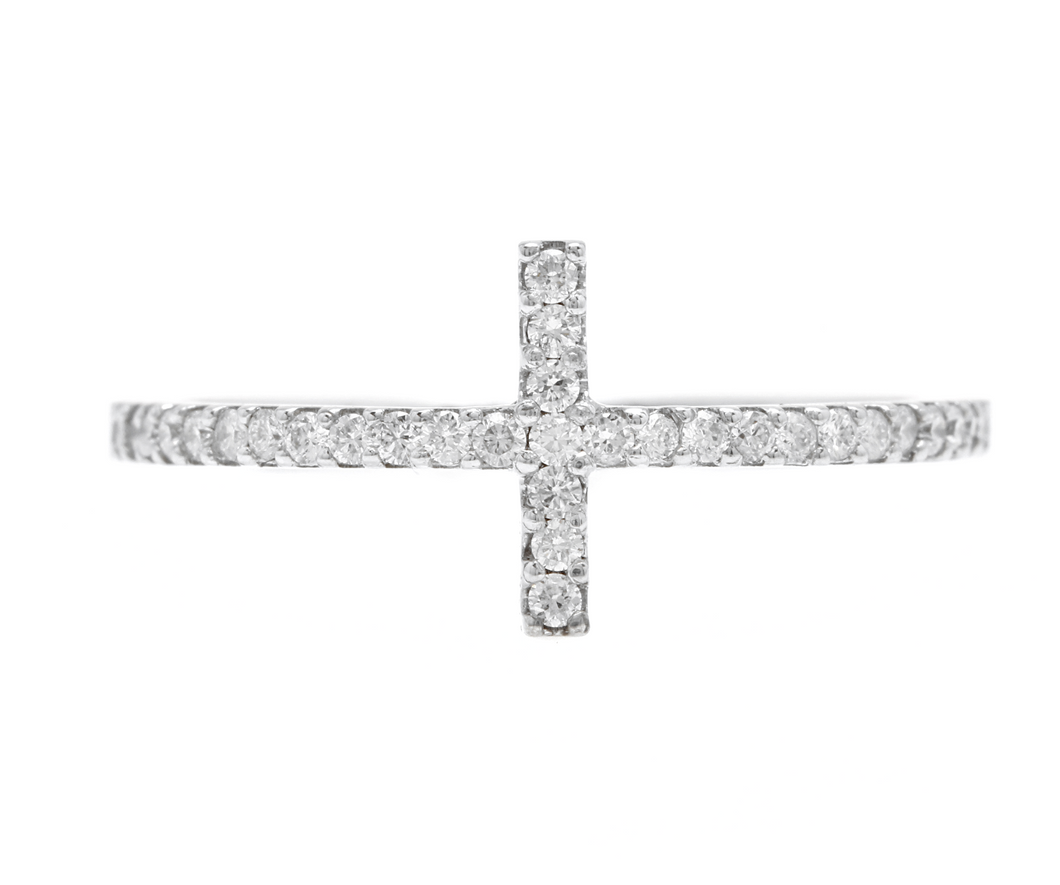 0.25Ct Natural Diamond 14K Solid White Gold Cross Ring