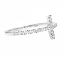 Load image into Gallery viewer, 0.25Ct Natural Diamond 14K Solid White Gold Cross Ring