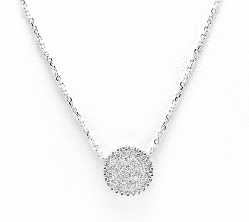 0.40Ct Stunning 14K Solid White Gold Diamond Necklace