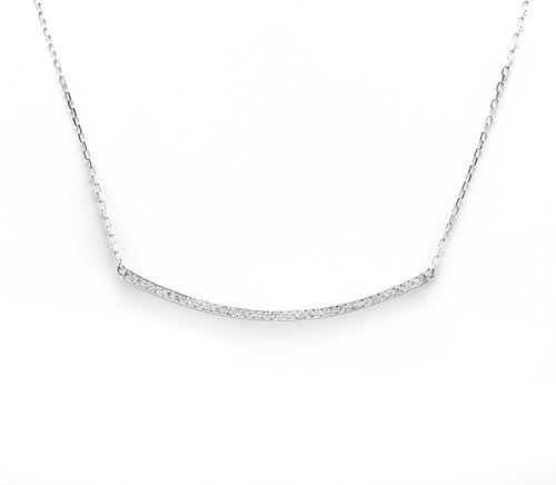 0.35Ct Stunning 14K Solid White Gold Diamond Necklace
