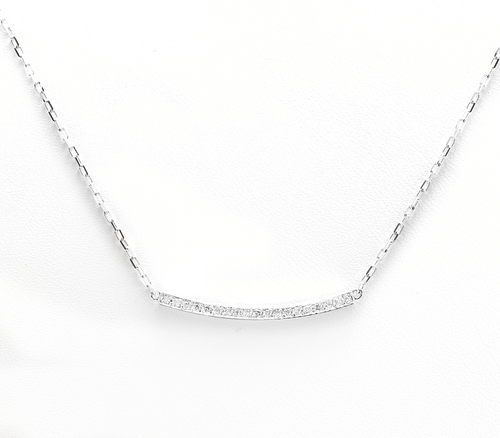 0.25Ct Stunning 14K Solid White Gold Diamond Necklace