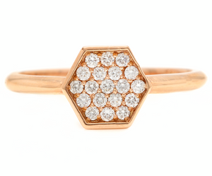 0.30Ct Natural Diamond 14K Solid Rose Gold Band Ring