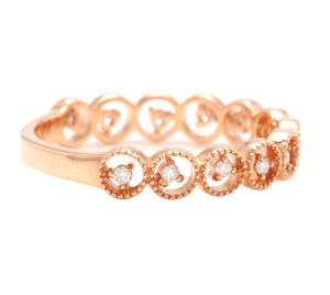 Natural Diamond 14K Solid Rose Gold Band Ring