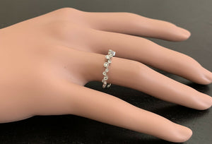 Natural Diamond 14K Solid White Gold Band Ring