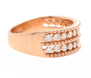 0.70Ct Natural Diamond 14K Solid Rose Gold Band Ring