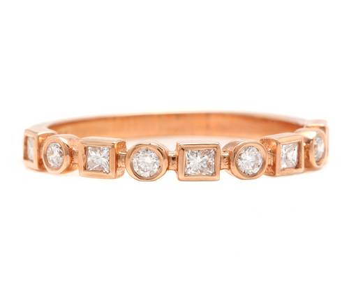 0.35Ct Natural Diamond 14K Solid Rose Gold Band Ring