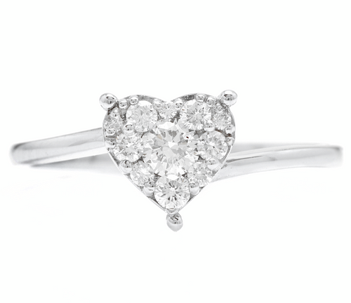 0.35Ct Natural Diamond 14K Solid White Gold Heart Ring