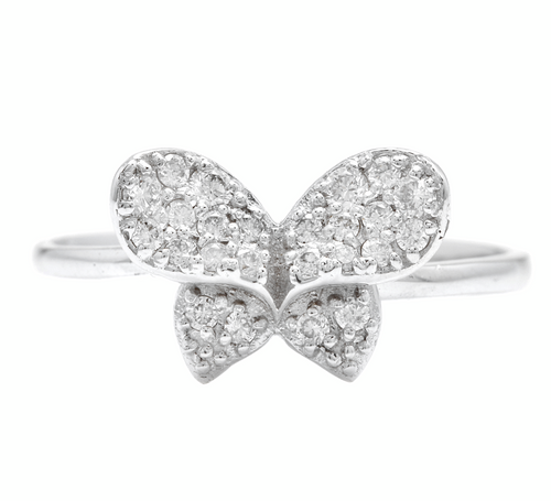 0.25Ct Natural Diamond 14K Solid White Gold Butterfly Ring