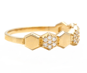 0.20Ct Natural Diamond 14K Solid Yellow Gold Band Ring