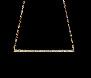 0.25Ct Stunning 14K Solid Yellow Gold Diamond Bar Necklace