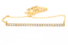 Load image into Gallery viewer, 0.25Ct Stunning 14K Solid Yellow Gold Diamond Bar Necklace