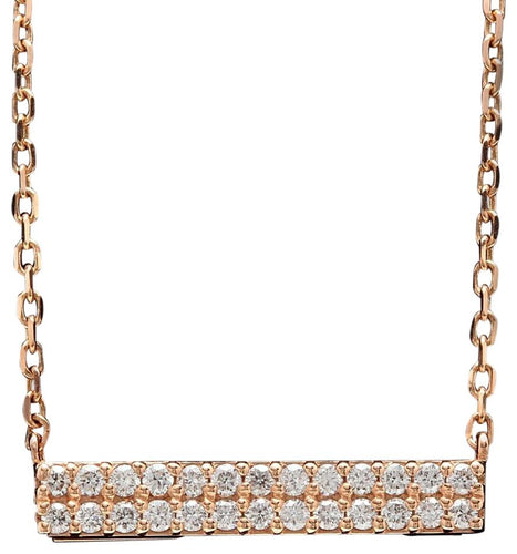 0.35Ct Stunning 14K Solid Rose Gold Diamond Bar Necklace