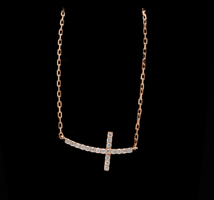 0.25Ct Stunning 14K Solid Rose Gold Diamond Cross Necklace