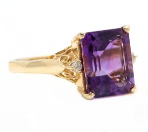 5.08 Carats Natural Amethyst and Diamond 14k Solid Yellow Gold Ring