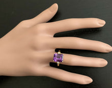Load image into Gallery viewer, 5.08 Carats Natural Amethyst and Diamond 14k Solid Yellow Gold Ring