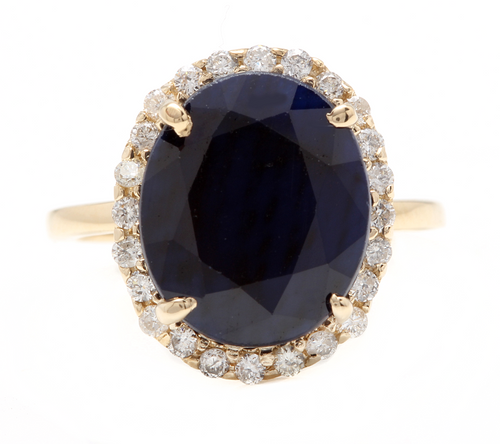 7.50ct Natural Blue Sapphire & Diamond 14k Solid Yellow Gold Ring