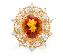 Load image into Gallery viewer, 3.75ct Natural Madeira Citrine and Diamond 14k Solid Yellow Gold  Ring