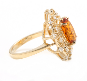 3.75ct Natural Madeira Citrine and Diamond 14k Solid Yellow Gold  Ring
