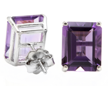 Load image into Gallery viewer, 7.45 Carats Natural Amethyst 14k Solid White Gold  Stud Earrings
