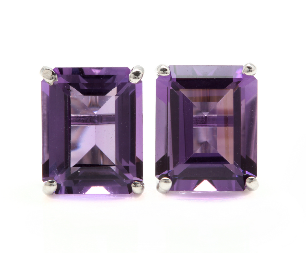 7.45 Carats Natural Amethyst 14k Solid White Gold  Stud Earrings