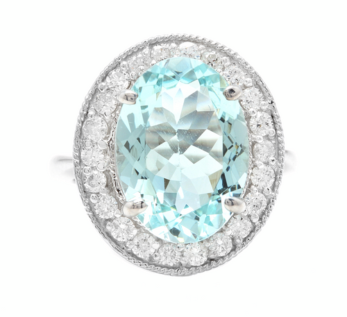 6.90 Carats Natural Aquamarine and Diamond 18k Solid White Gold Ring