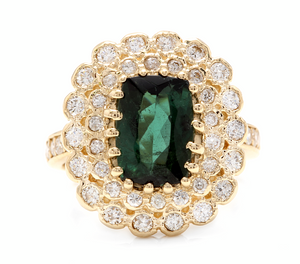 4.45 Carats Natural Green Tourmaline and Diamond 18k Solid Yellow Gold Ring