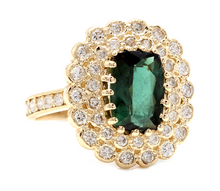 Load image into Gallery viewer, 4.45 Carats Natural Green Tourmaline and Diamond 18k Solid Yellow Gold Ring