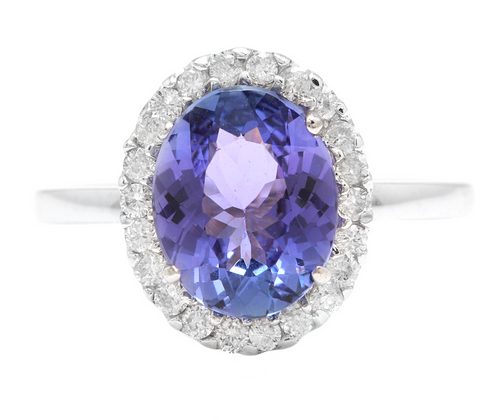 2.40 Carats Natural Tanzanite and Diamond 14k Solid White Gold Ring