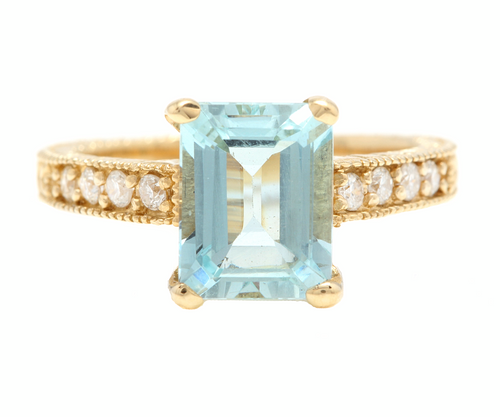 3.20 Carats Natural Aquamarine and Diamond 14k Solid Yellow Gold Ring
