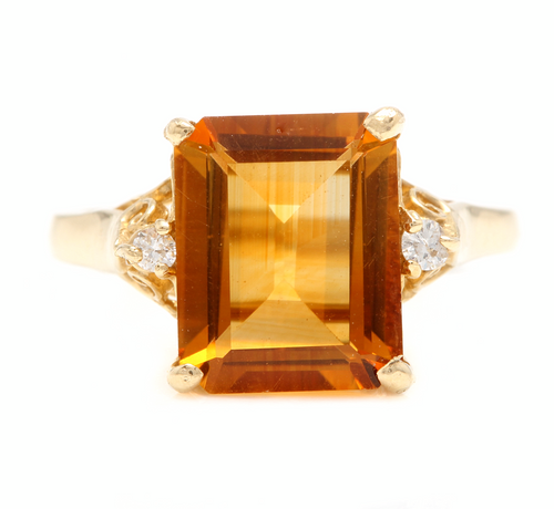4.08 Carats Natural Citrine and Diamond 14k Solid Yellow Gold Ring