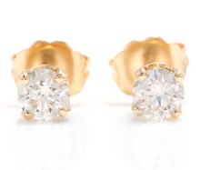 Load image into Gallery viewer, 1.00ct Natural Diamond 14k Solid Yellow Gold Stud Earrings