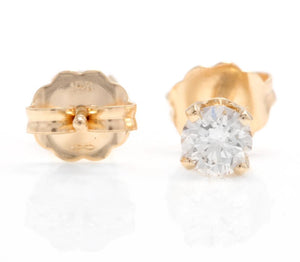 1.00ct Natural Diamond 14k Solid Yellow Gold Stud Earrings