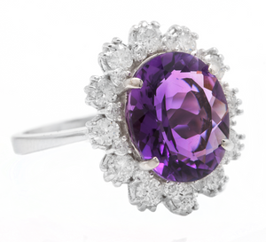 5.20 Carats Natural Amethyst and Diamond 14k Solid White Gold Ring