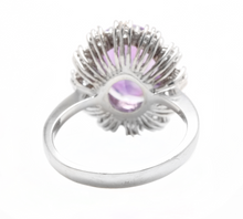 Load image into Gallery viewer, 5.20 Carats Natural Amethyst and Diamond 14k Solid White Gold Ring