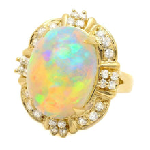 Load image into Gallery viewer, 12.70ct Natural Ethiopian Opal and Diamond 14k Solid Yellow Gold Ring