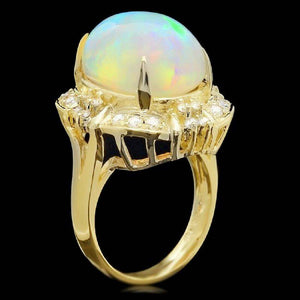 12.70ct Natural Ethiopian Opal and Diamond 14k Solid Yellow Gold Ring